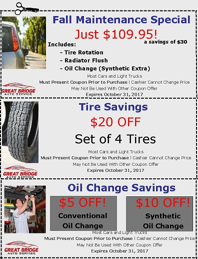 Car Repair Coupons at Great Bridge Auto Service in Chesapeake