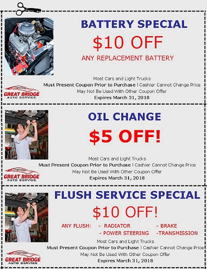 Winter Coupons at Great Bridge Auto Service