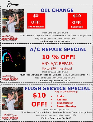 Summer Coupons at Great Bridge Auto Service
